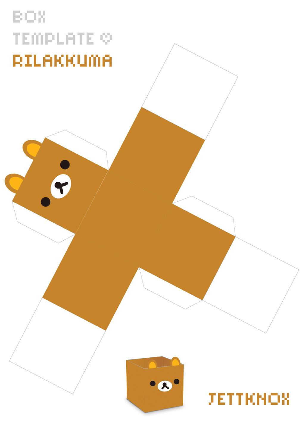 Box template rilakkuma by jettknox on deviantart for Cute papercraft templates