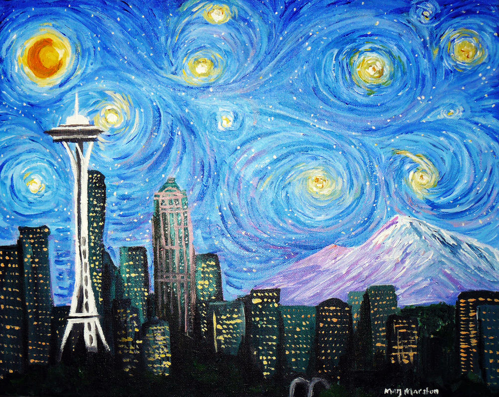 A Starry Night Over Seattle by mkmars