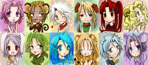 Chinese Zodiac Chibis by careko
