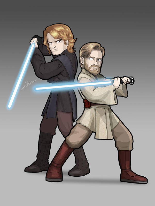 STAR WARS Obi-Wan Kenobi and Anakin Skywalker by SandikaRakhim