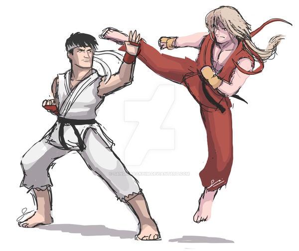 Street Fighter Af Ryu And Ken Quick Drawing By Sandikarakhim On