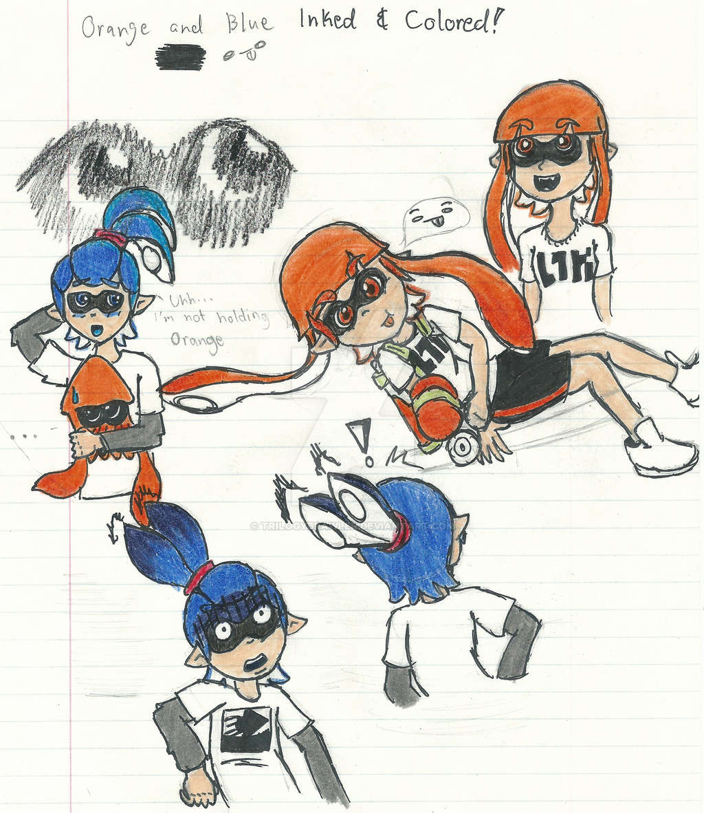 Orange and Blue (inked/colored) by Trilogybrawler