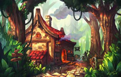 Tavern in The Forest by Kryssalian