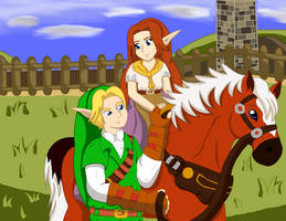 Zelda OOT: Link and Malon by UrsineTimes