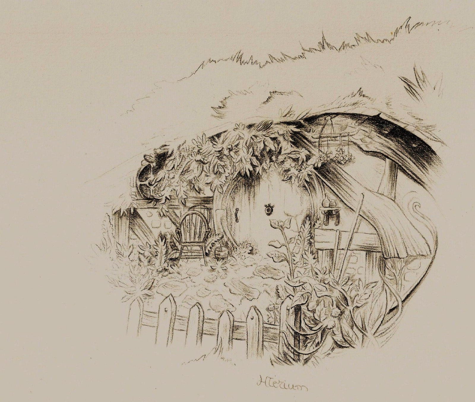 A hobbit house by myrhis on deviantart for Hobbit house drawings