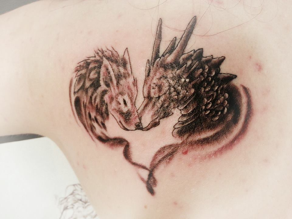 my first tattoo dragon and wolf heart by snowwhitesangel