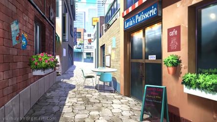 Coffee street - Visual Novel background by Vui-Huynh