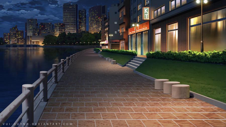 City street-Night by Vui-Huynh