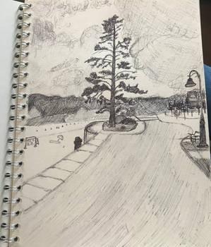 beach pen drawing
