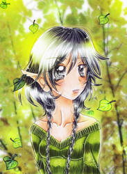 an elf girl in the woods by oliko