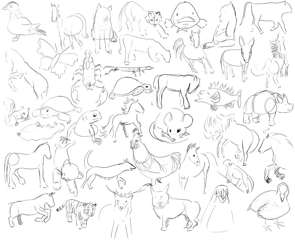 Easy Animal Drawings in Pencil For Kids Easy Animal Drawings in Pencil