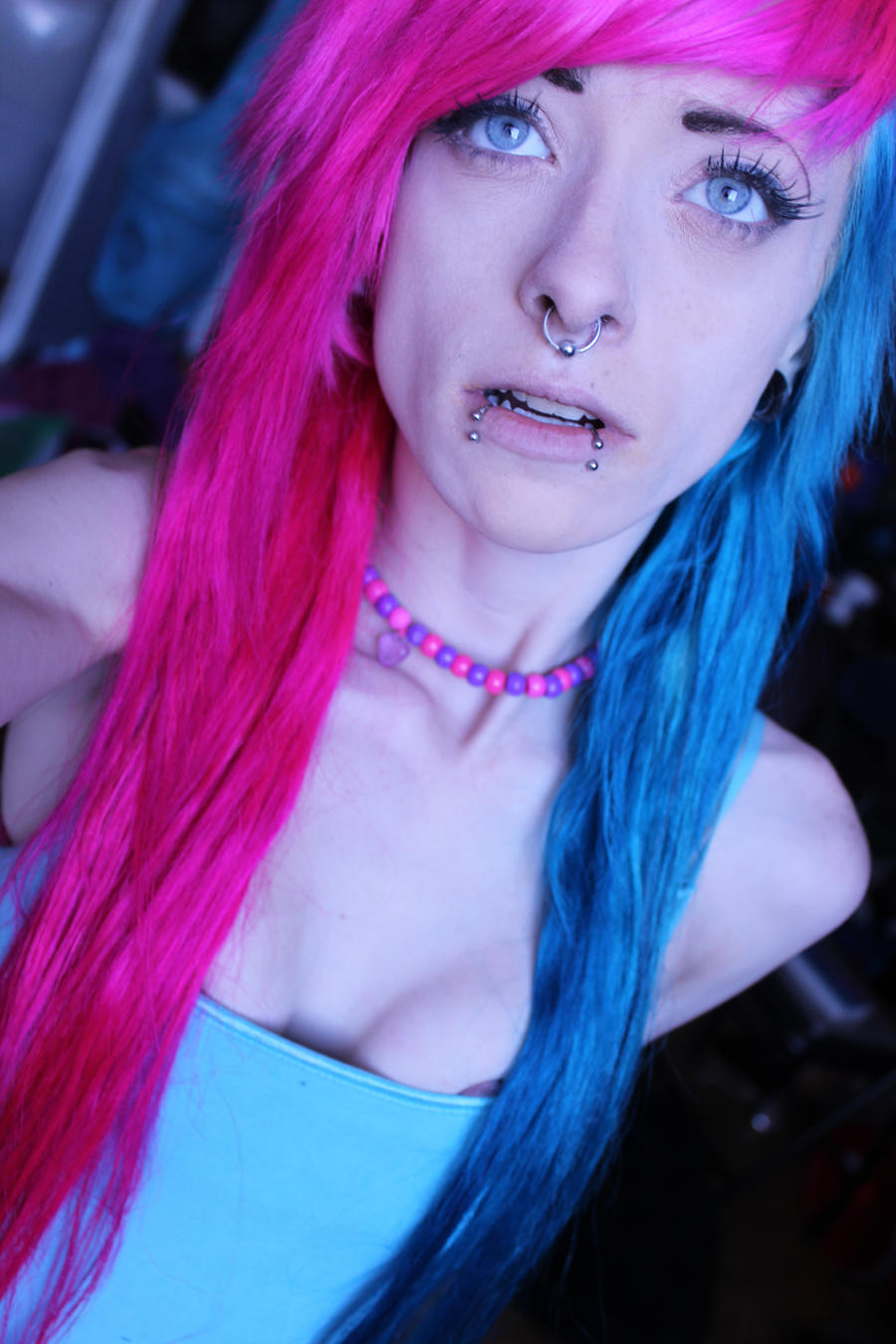 pink and blue hair by saramonsterkitty on deviantart