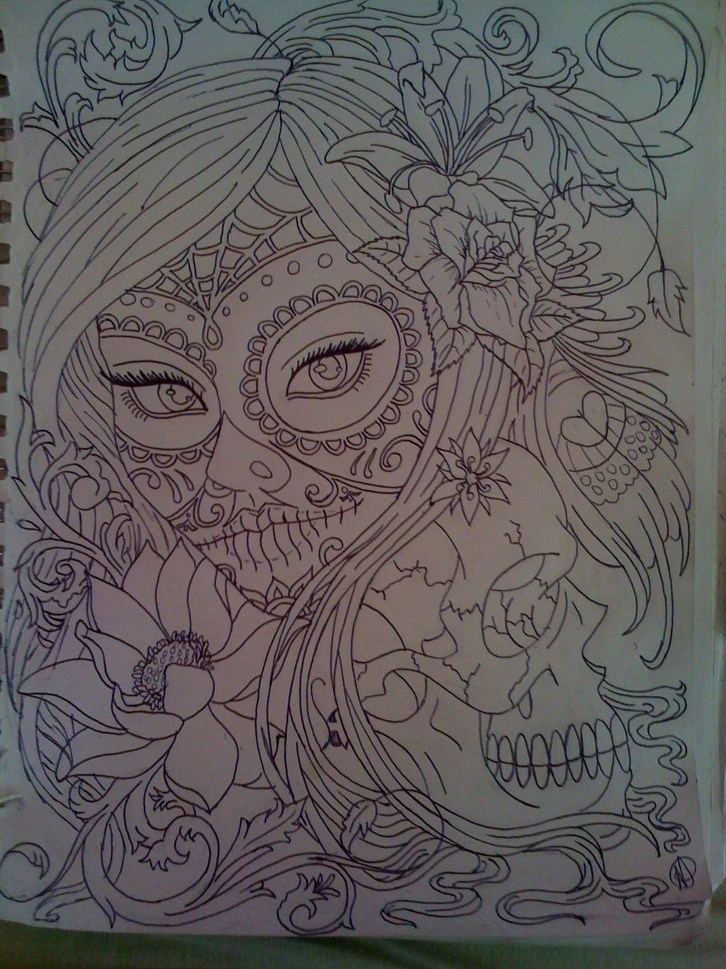 Owl sugar skull outline