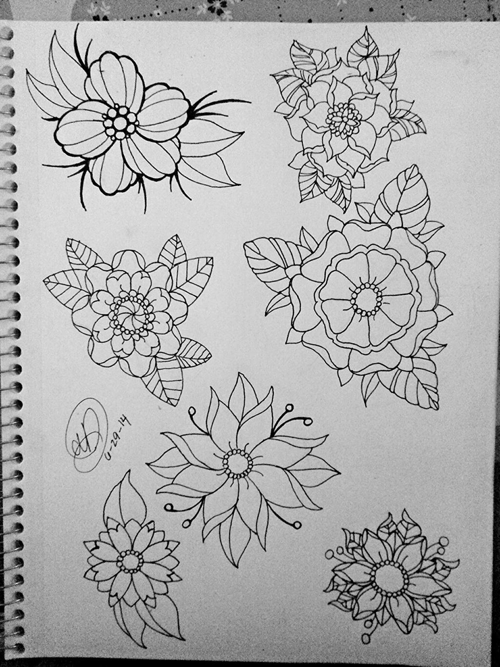 Traditional Flower Line Drawing : Tattoo flower flash sheet by pin updoll on deviantart