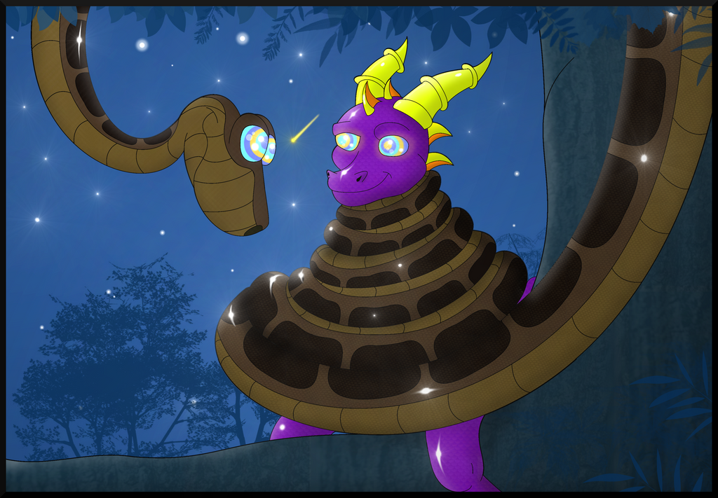 Jungle Spyro's first Snake-ish Encounter by Kiniun-Latios