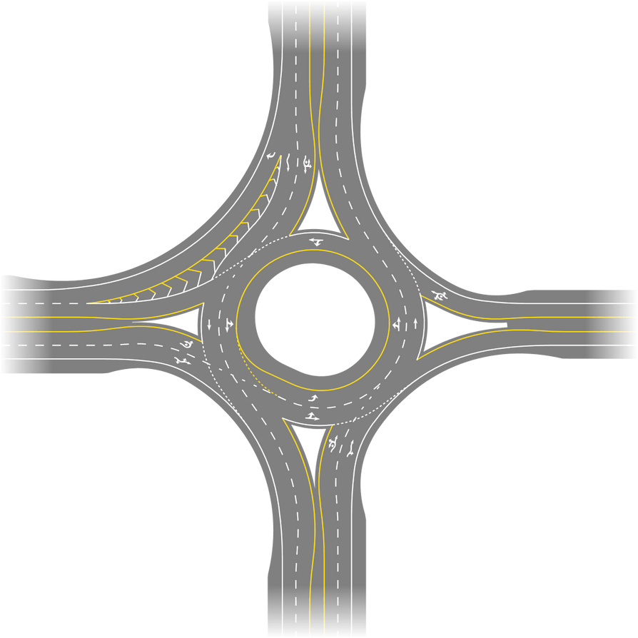 Roundabout with Various Features