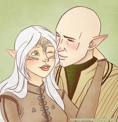 DA:I - Solas and Atisha Lavellan by CapricornSun83