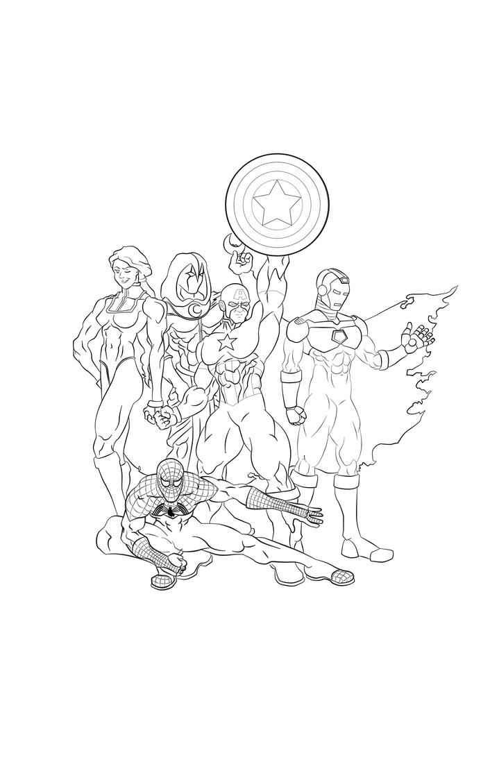 Disney xd avengers coloring pages ~ Avengers Line art by ajb3art on DeviantArt
