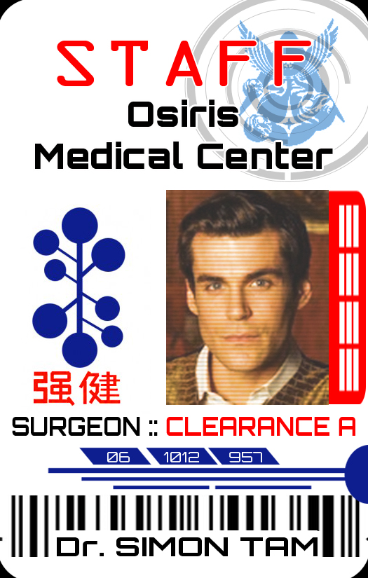 Simon Tam Osiris Medical ID Badge by ajb3art