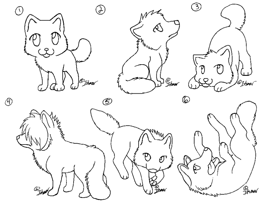 Chibi Wolf Lineart by