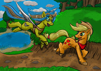 Sky Diver and Applejack by LizardWithHat