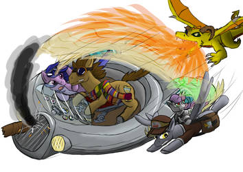 Skyride in flames with Seaswirl by LizardWithHat