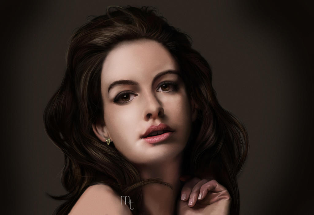 Anne Hathaway Digital Portrait by turkill