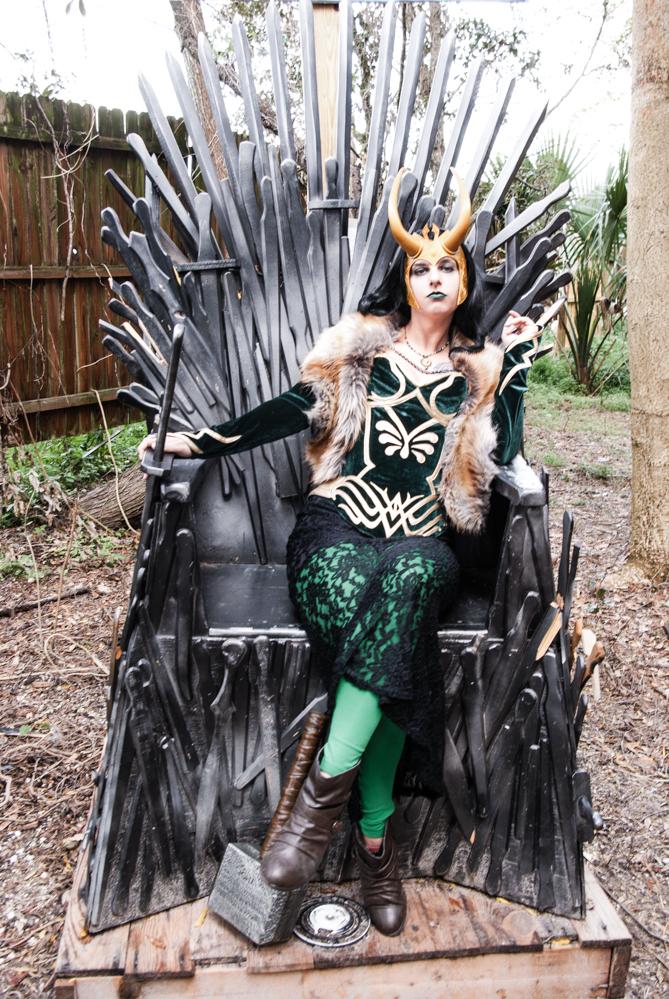 Lady Loki on the Iron Throne by deimosmasque