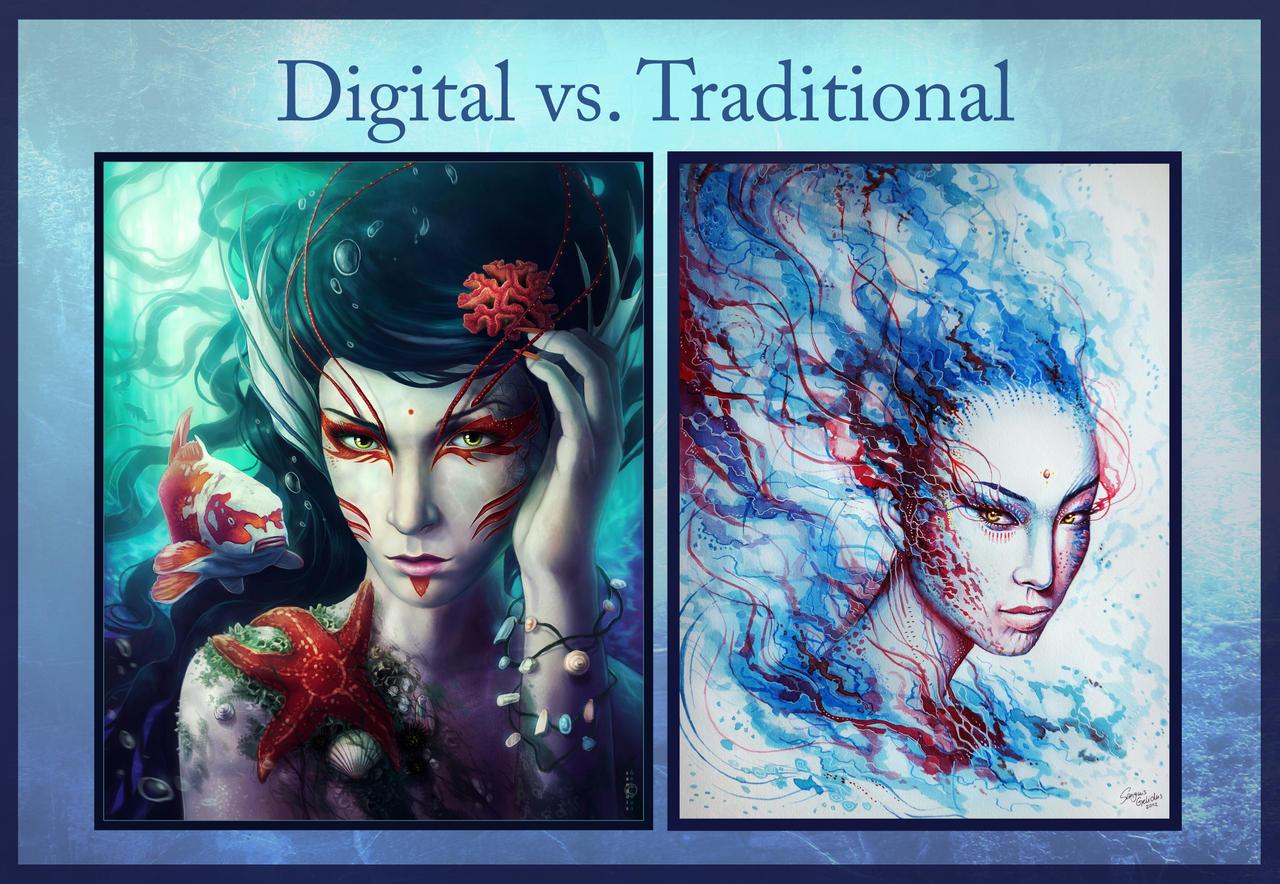 Digital Vs Traditional by JoJoesArt