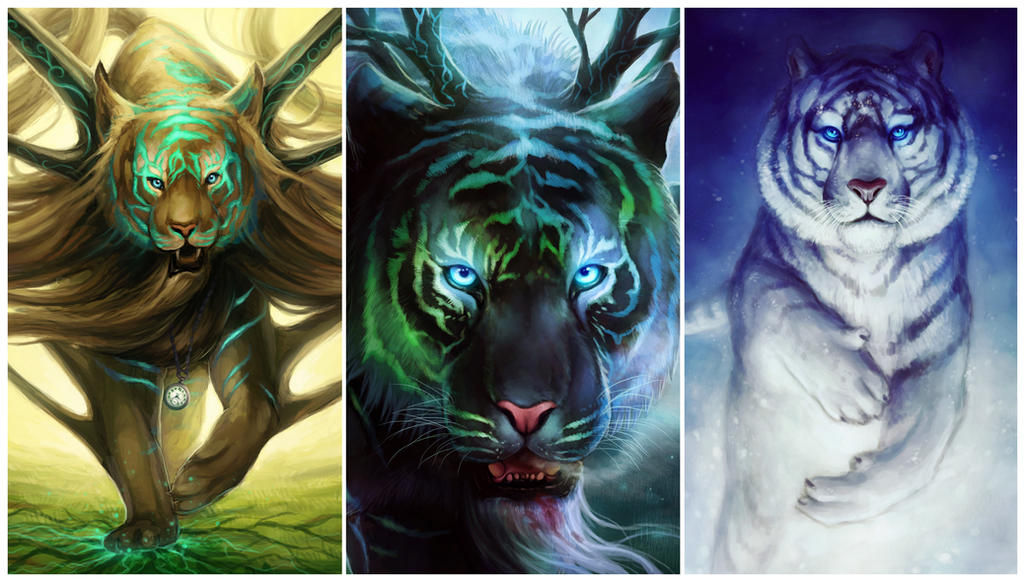 Godly Tigers - Wallpaper