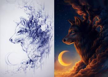 Sketch vs Color by JoJoesArt