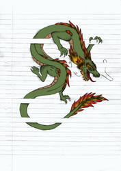 Drawing Between The Lines - Dragon (Colored) by AnitaPrime