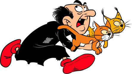 Gargamel runs with cats by AliceSacco