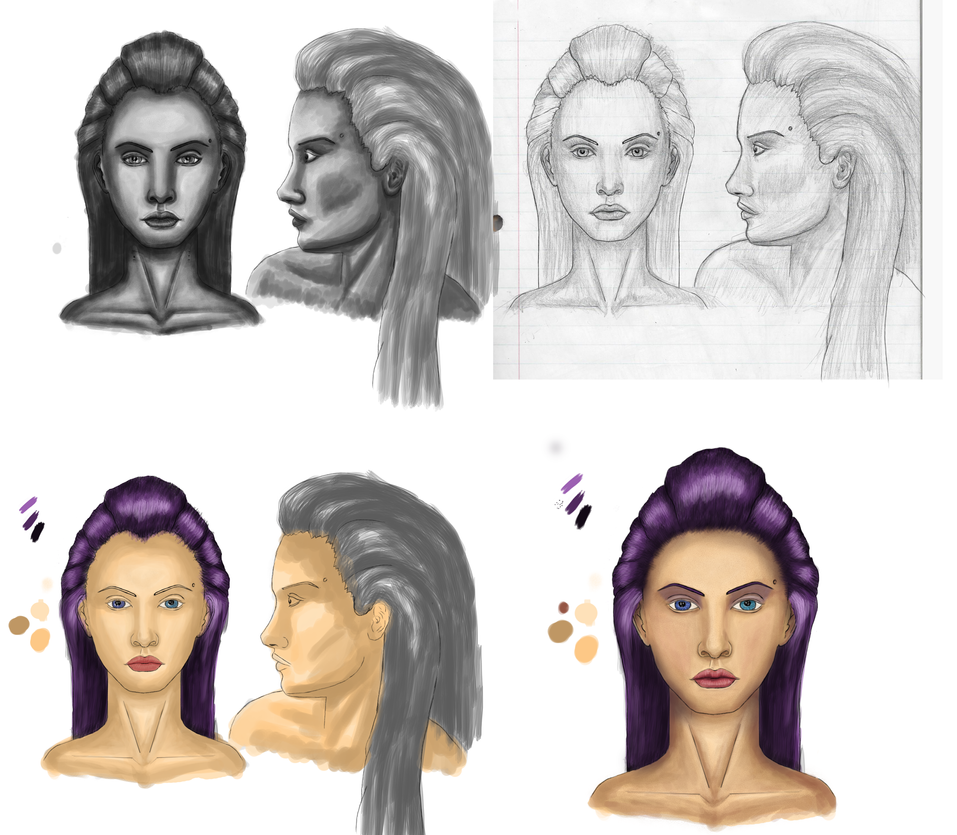Avarielle drawing process by Jundallah