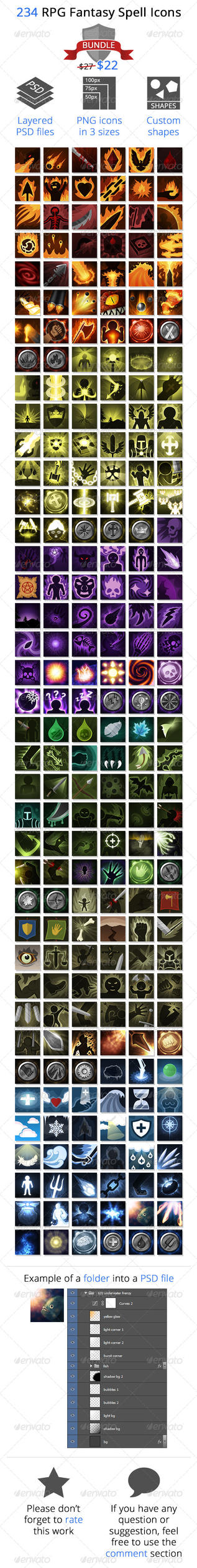 RPG Fantasy Spells Icons Bundle by ruizb