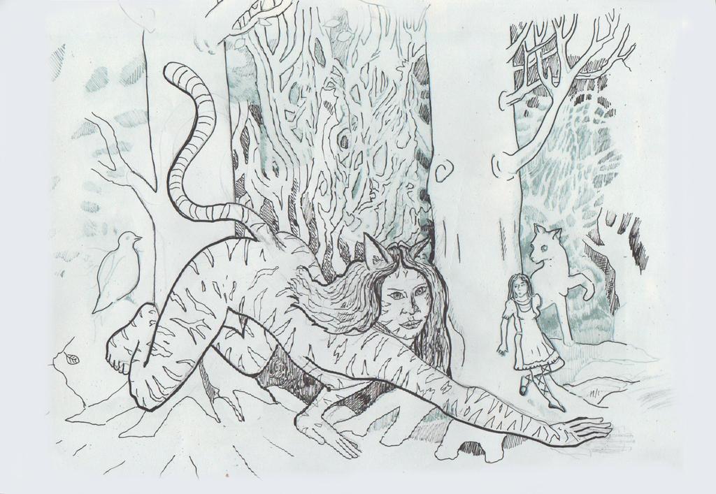 Rabbithunt - Cheshire pounces near hiding Alice I by chesya