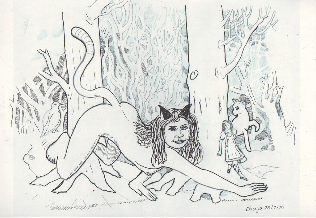 Rabbithunt - Cheshire pounces near hiding Alice II by chesya