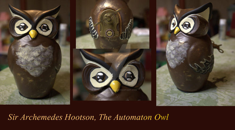 Sir Archemedes Hootson, The Automaton Owl by flamingchibi