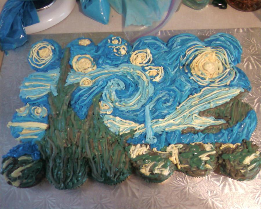 Van Gogh 'Starry Night' Cake by KittyKatCakes