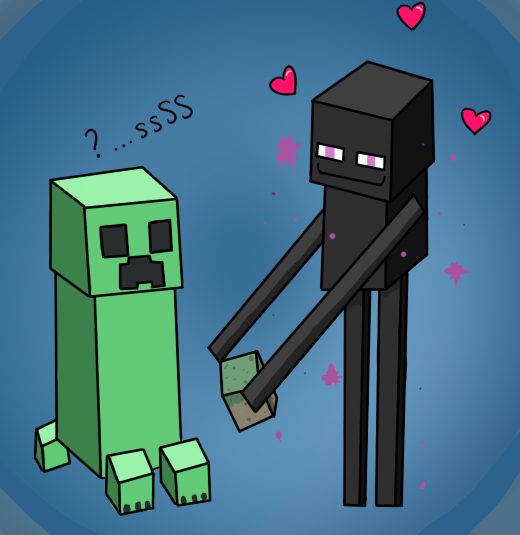 Enderman loves the Creeper by CrateriaBrinstar
