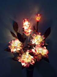 Pink angel flowers. Artificial Light Bouquet