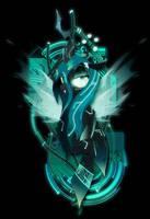 Dark Synthwave/Cyberpunk Queen Chrysalis by II-Art