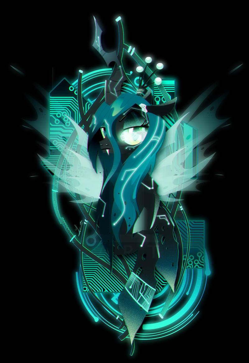 Dark Synthwave/Cyberpunk Queen Chrysalis by II-Art