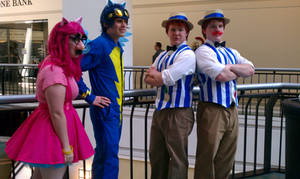 Pinkie Pie, a Wonderbolt, and Flim Flam Brothers