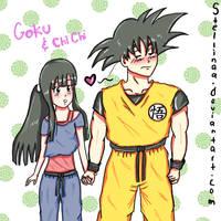 Goku and Chichi by stellinaa