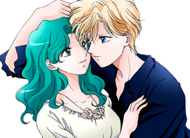Uranus x Neptune - Sailor Moon Crystal - png III by AriaLacava