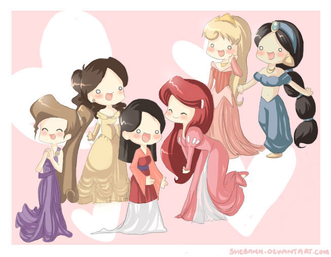 Groupe de Princesses Fanarts. Disney_Princess_by_shebann