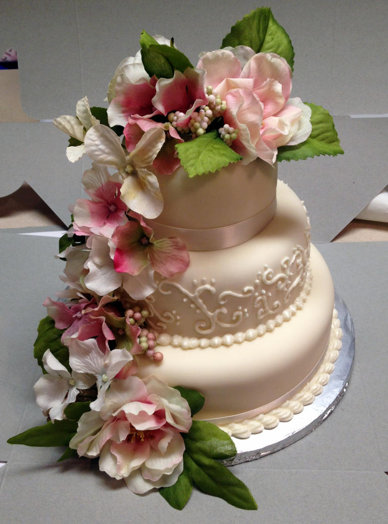Wedding Flowers: wedding cake silk flowers