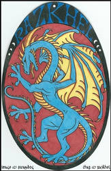 Razkhel Rampant (Heraldic Conbadge Commission) by swandog