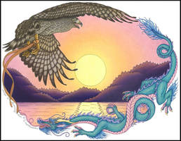 Hawk and Dragon by swandog